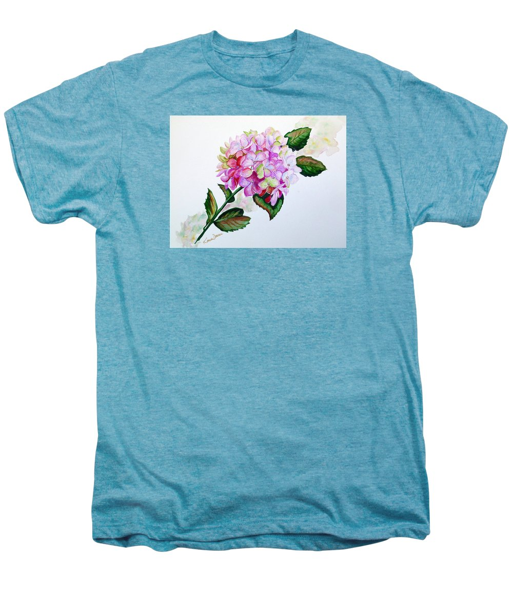 Hydrangea Painting Floral Painting Flower Pink Hydrangea Painting Botanical Painting Flower Painting Botanical Painting Greeting Card Painting Painting Men's Premium T-Shirt featuring the painting Pretty In Pink by Karin Dawn Kelshall- Best