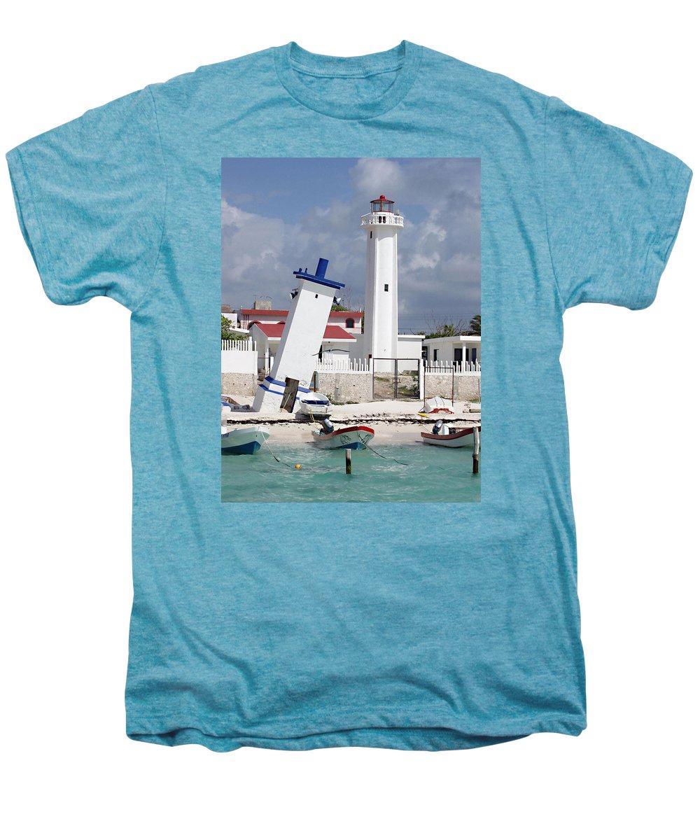 Puerto Morelos Lighthouse Men's Premium T-Shirt featuring the photograph Puerto Morelos Lighthouse by Ellen Henneke