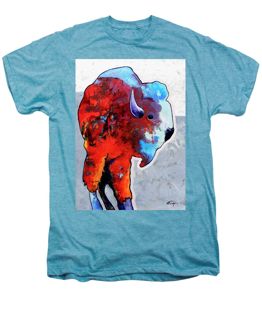 Wildlife Men's Premium T-Shirt featuring the painting Rainbow Warrior Bison by Joe Triano