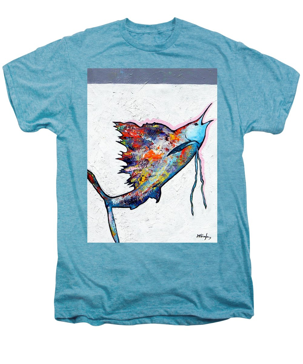 Wildlife Men's Premium T-Shirt featuring the painting Rainbow Warrior - Sailfish by Joe Triano