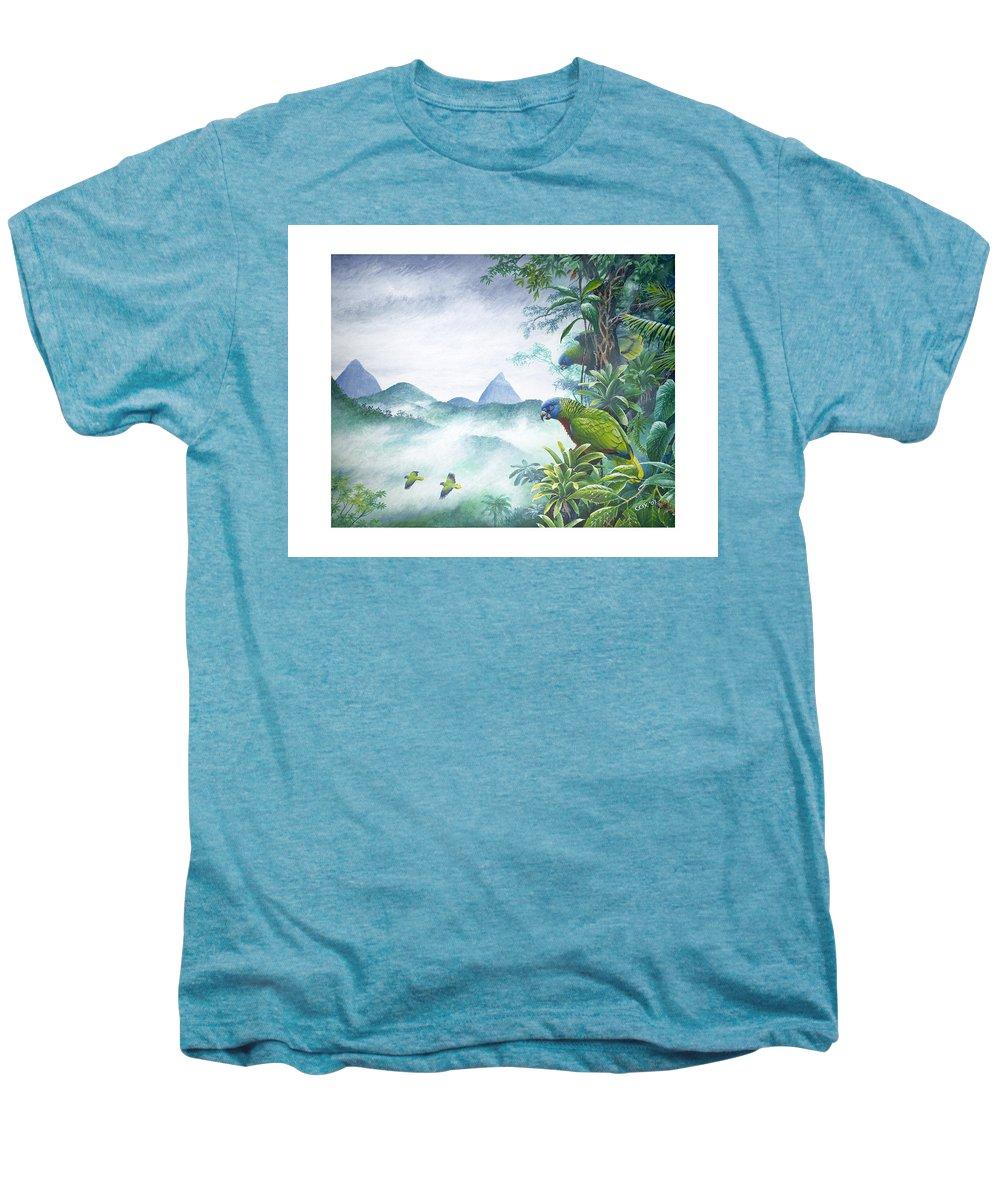 Chris Cox Men's Premium T-Shirt featuring the painting Rainforest Realm - St. Lucia Parrots by Christopher Cox