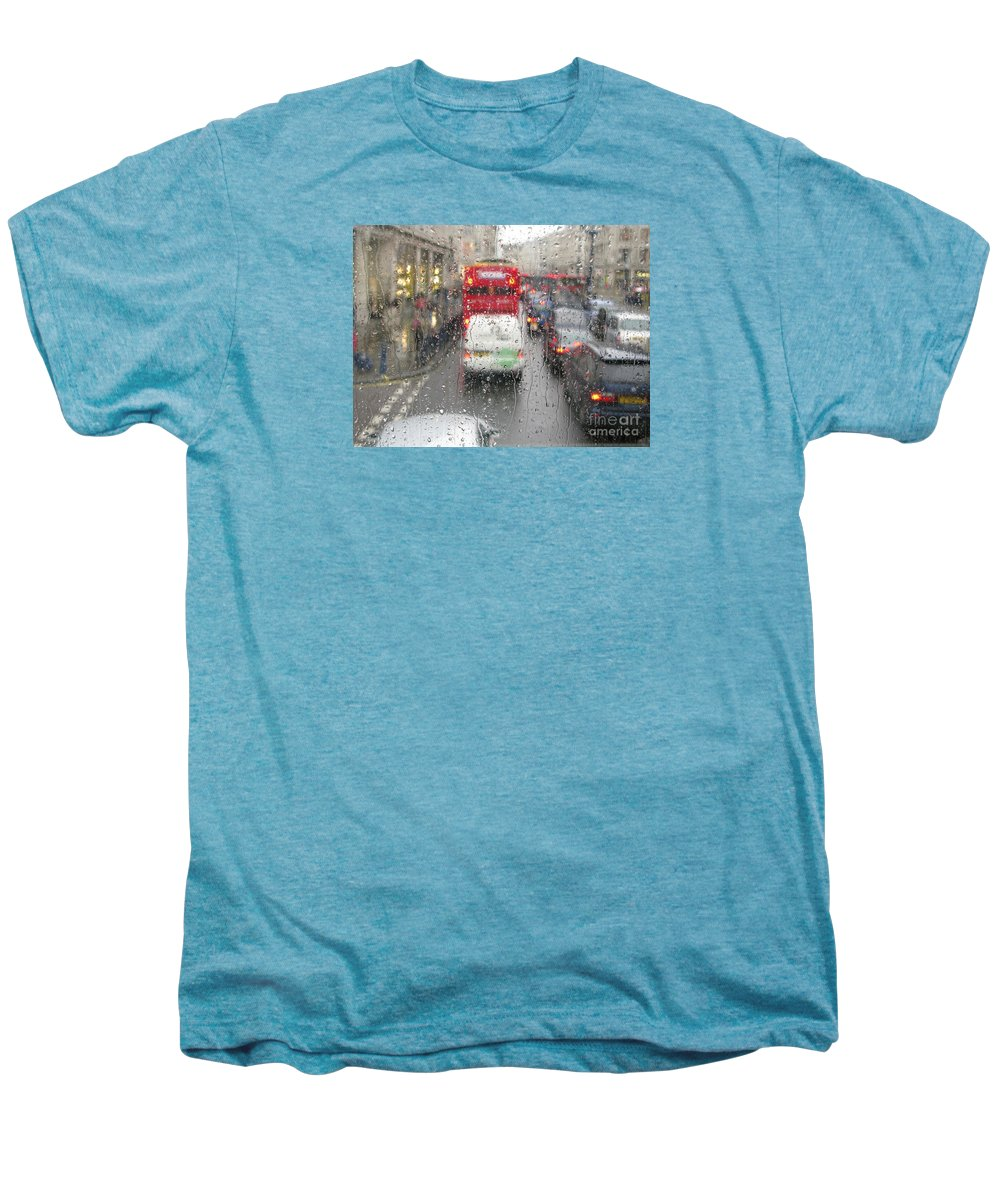 Rainy Day London Traffic By Ann Horn Men's Premium T-Shirt featuring the photograph Rainy Day London Traffic by Ann Horn