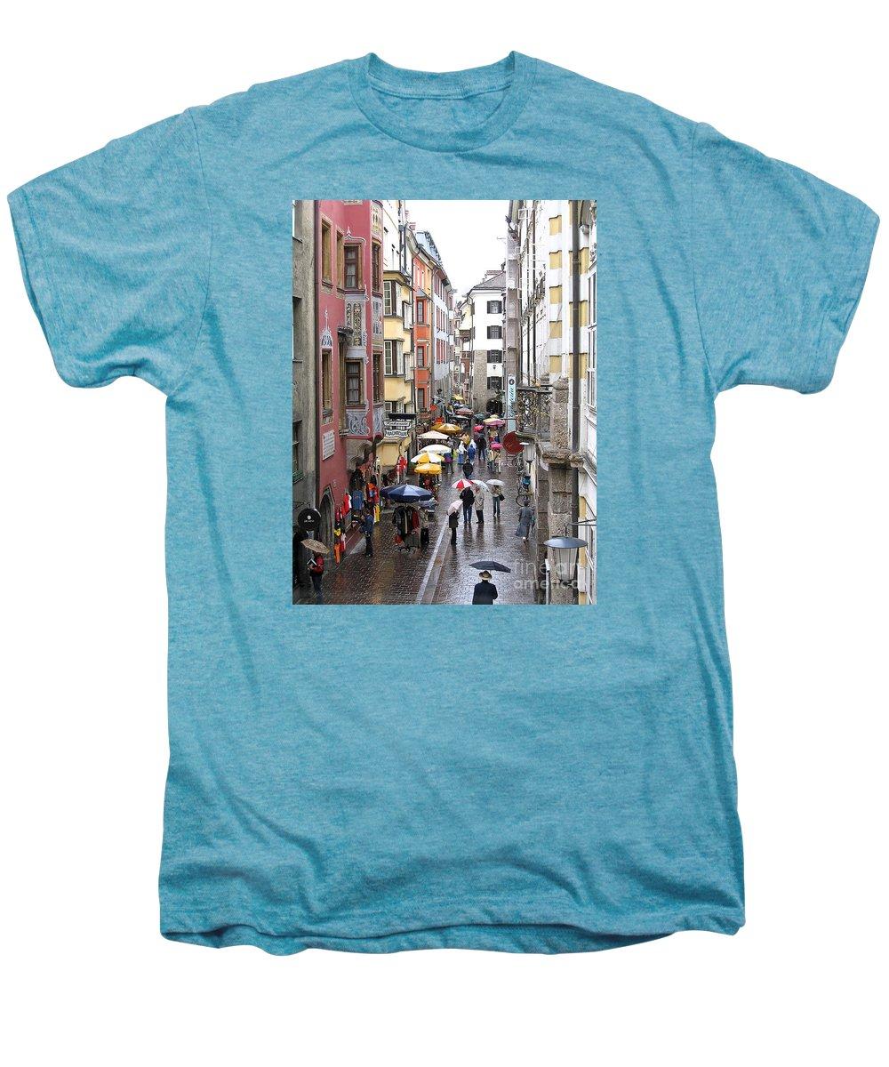 Innsbruck Men's Premium T-Shirt featuring the photograph Rainy Day Shopping by Ann Horn
