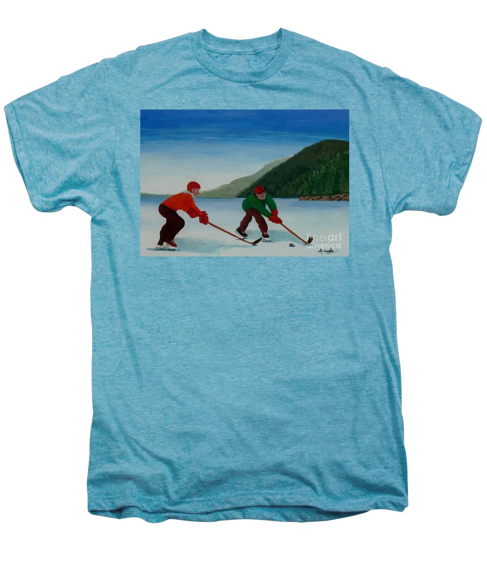 Pond Men's Premium T-Shirt featuring the painting Reach For It by Anthony Dunphy