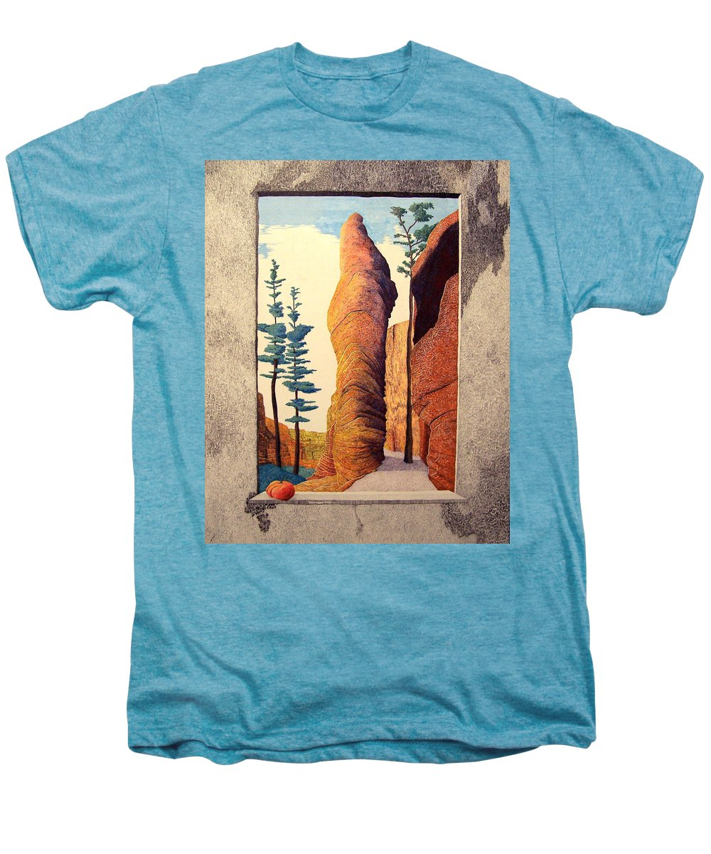 Landscape Men's Premium T-Shirt featuring the painting Reared Window by A Robert Malcom