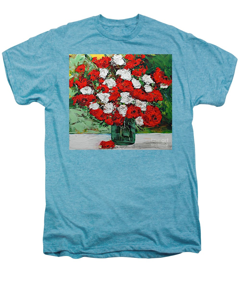 Landscape Men's Premium T-Shirt featuring the painting Red Explosion by Allan P Friedlander