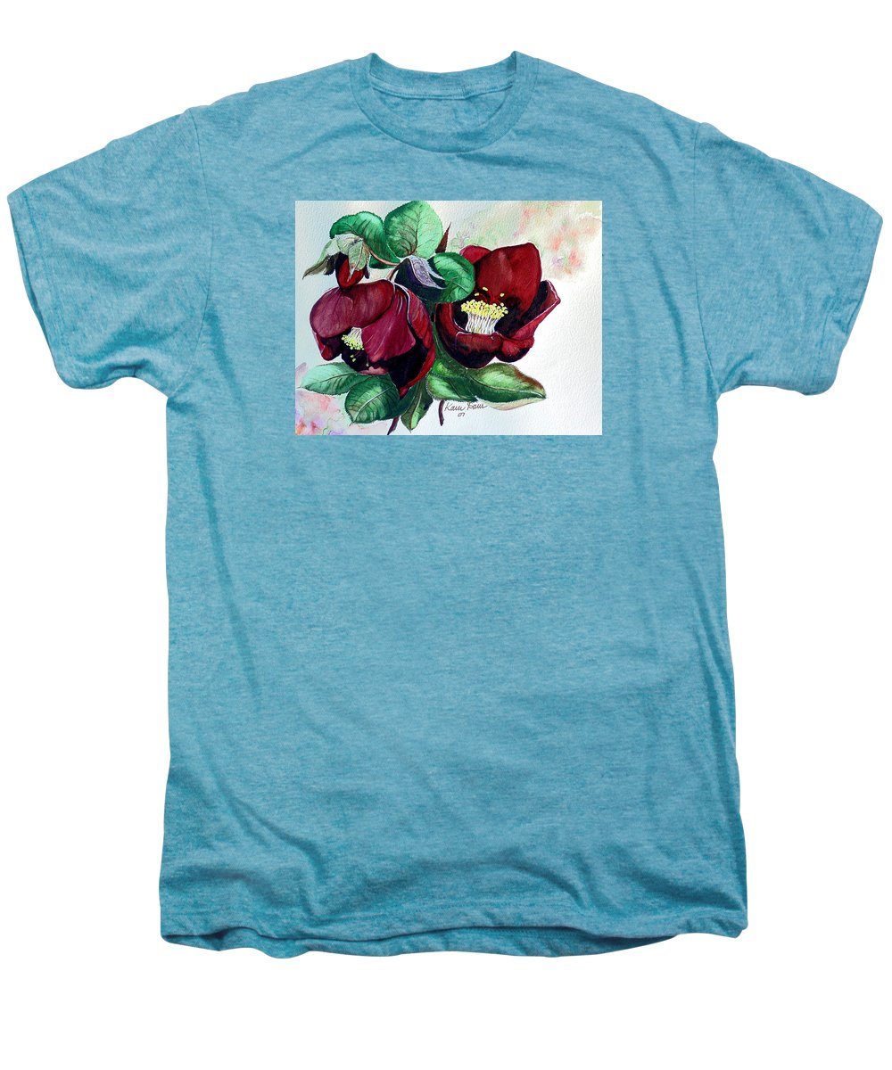 Red Helleborous Painting Flower Painting  Botanical Painting Watercolor Painting Original Painting Floral Painting Flower Painting Red Painting  Greeting Painting Men's Premium T-Shirt featuring the painting Red Helleborous by Karin Dawn Kelshall- Best