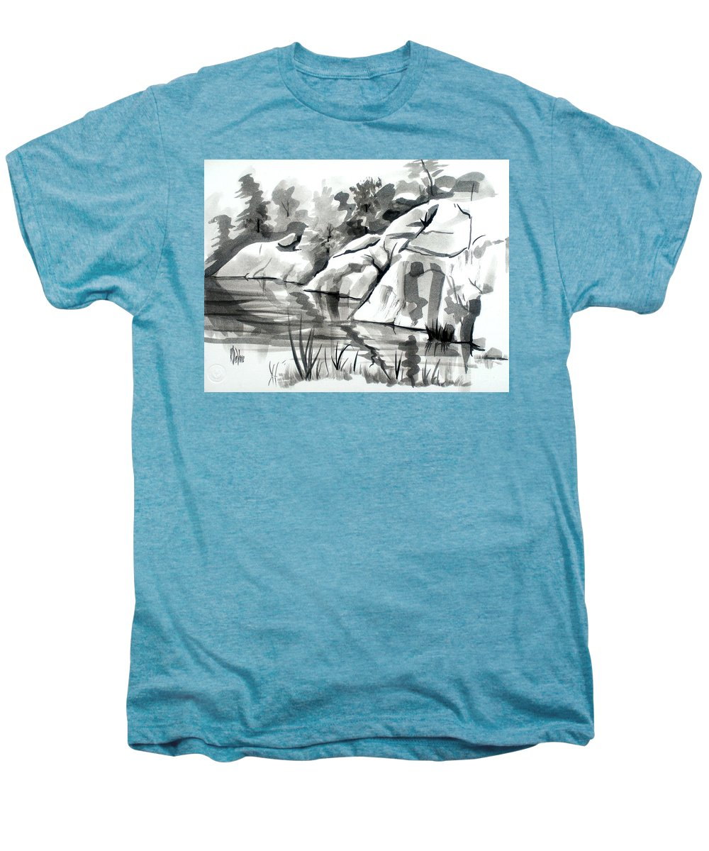 Reflections At Elephant Rocks State Park No I102 Men's Premium T-Shirt featuring the painting Reflections At Elephant Rocks State Park No I102 by Kip DeVore