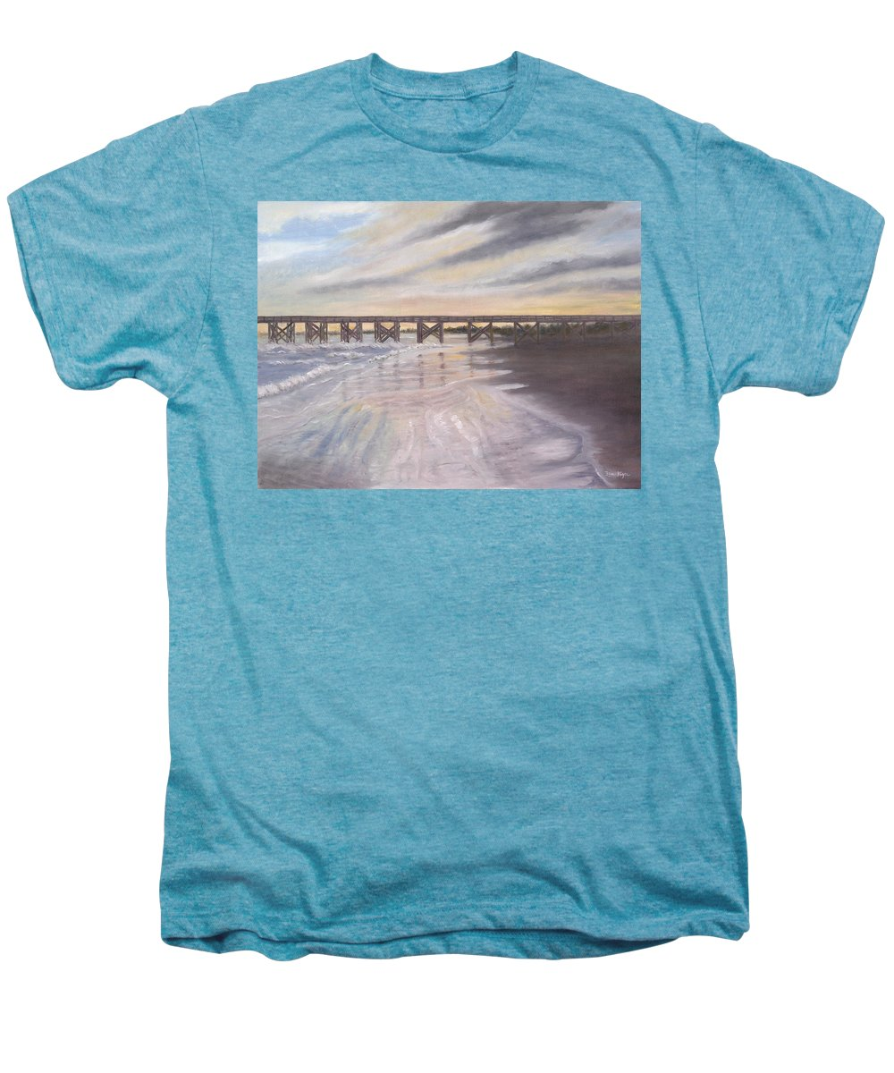 Beach; Pier; Low Country Men's Premium T-Shirt featuring the painting Reflections by Ben Kiger