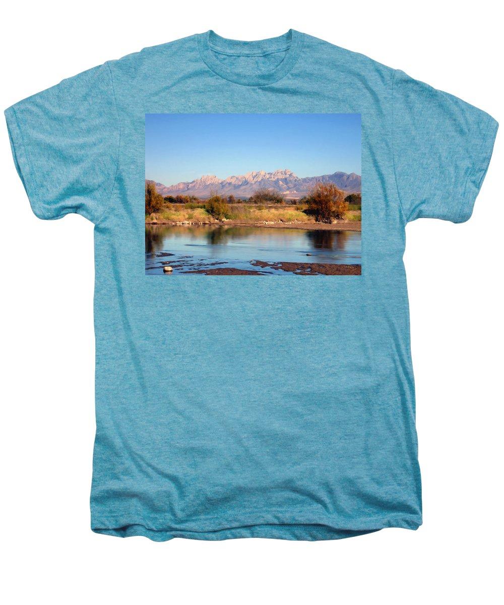River Men's Premium T-Shirt featuring the photograph River View Mesilla by Kurt Van Wagner