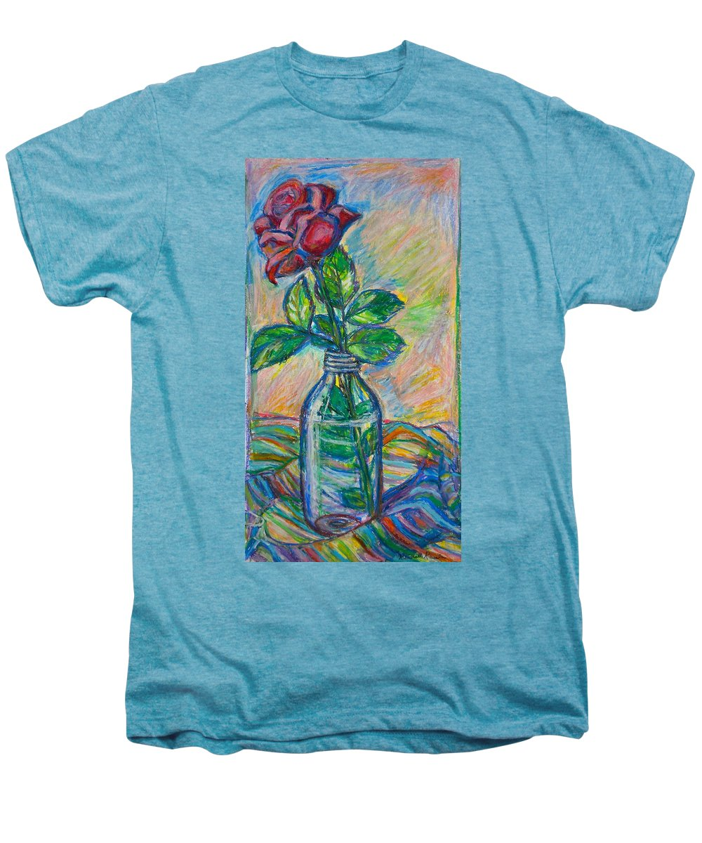 Still Life Men's Premium T-Shirt featuring the painting Rose In A Bottle by Kendall Kessler