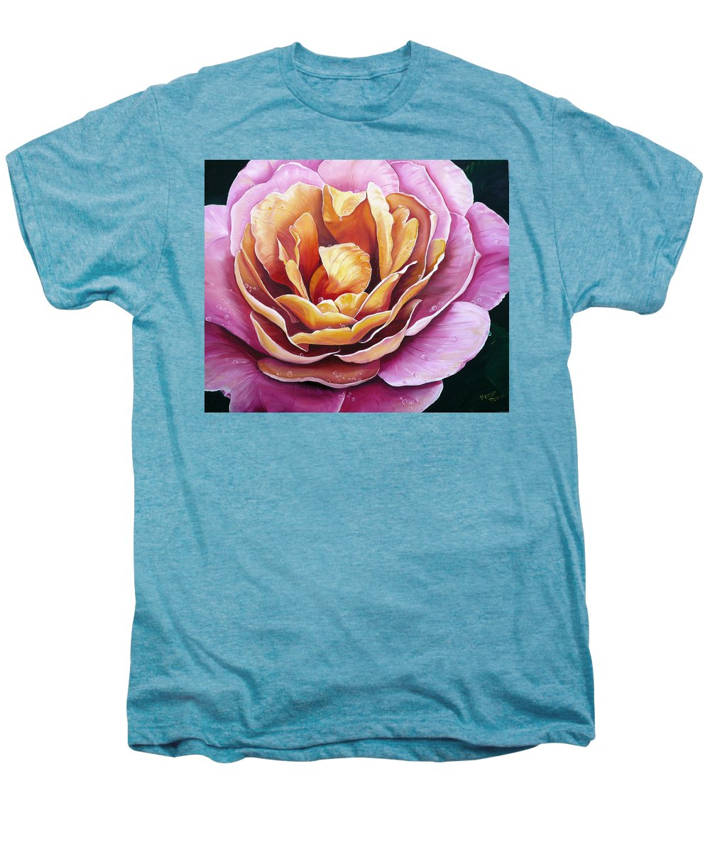 Rose Painting Pink Yellow Floral Painting Flower Bloom Botanical Painting Botanical Painting Men's Premium T-Shirt featuring the painting Rosy Dew by Karin Dawn Kelshall- Best