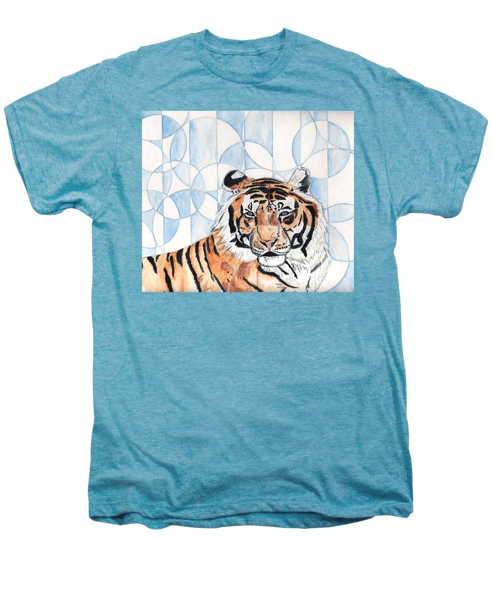Tiger Men's Premium T-Shirt featuring the painting Royal Mysticism by Crystal Hubbard
