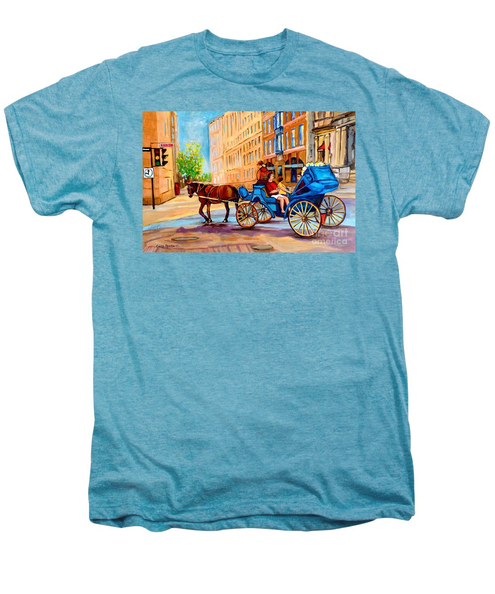 Rue Notre Dame Men's Premium T-Shirt featuring the painting Rue Notre Dame Caleche Ride by Carole Spandau