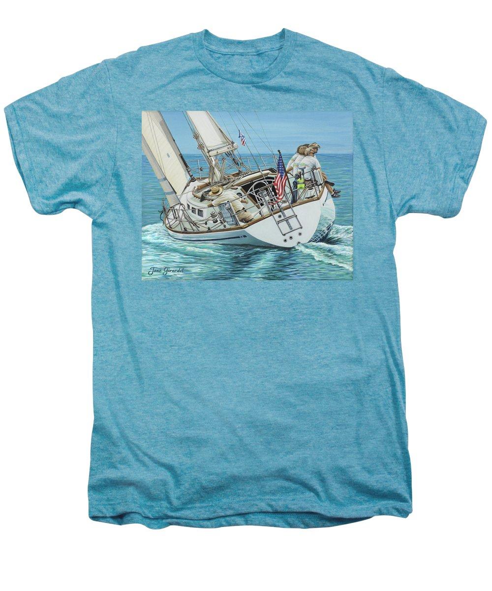 Ocean Men's Premium T-Shirt featuring the painting Sailing Away by Jane Girardot