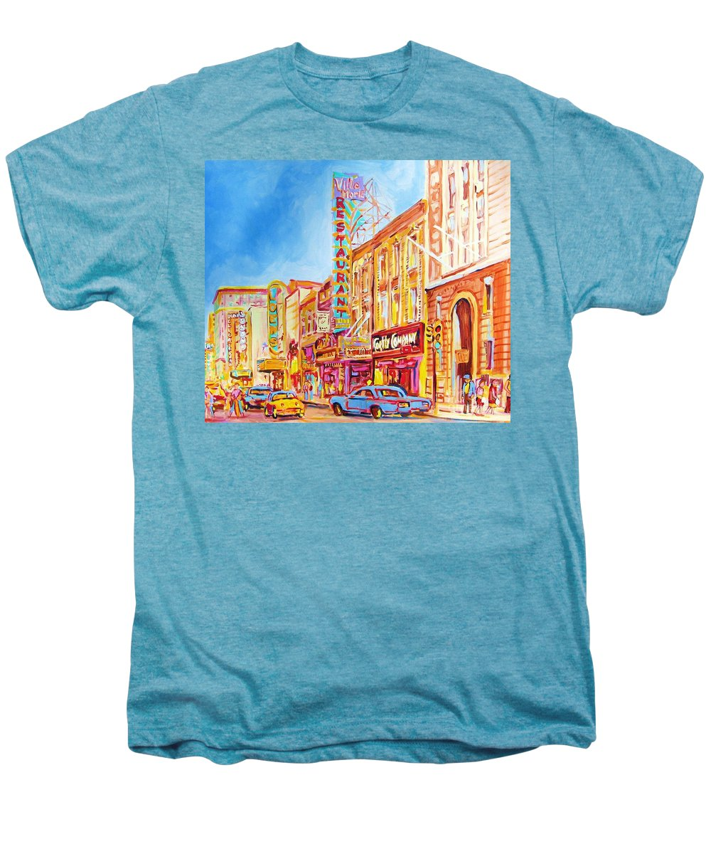 Paintings Of Montreal Men's Premium T-Shirt featuring the painting Saint Catherine Street Montreal by Carole Spandau