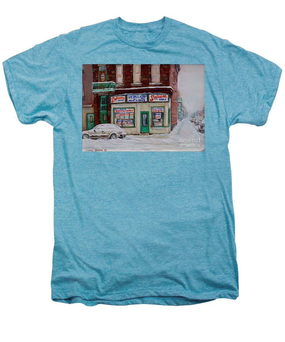 Montreal Men's Premium T-Shirt featuring the painting Salaison Ideale Montreal by Carole Spandau