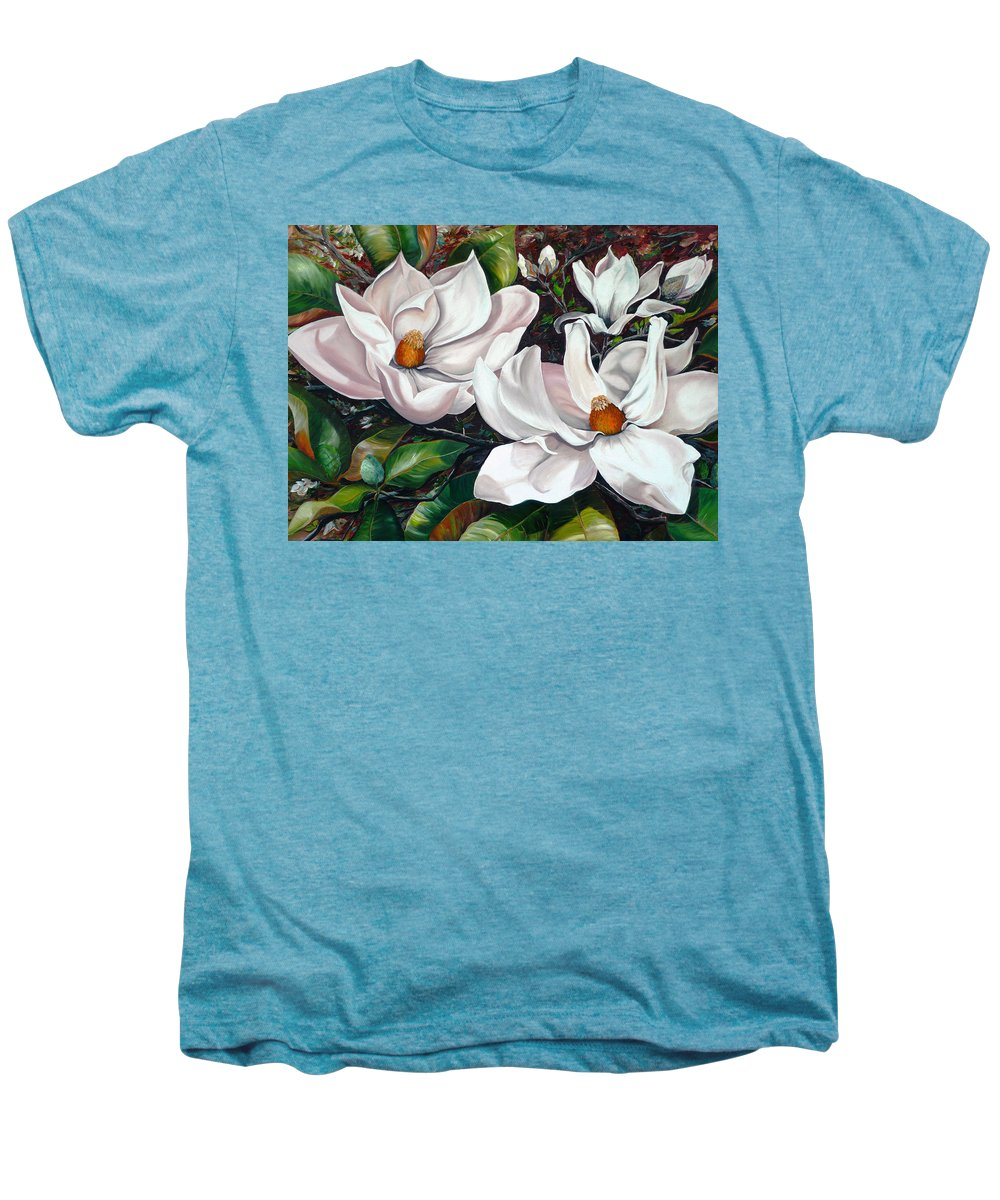 Magnolia Painting Flower Painting Botanical Painting Floral Painting Botanical Bloom Magnolia Flower White Flower Greeting Card Painting Men's Premium T-Shirt featuring the painting Scent Of The South. by Karin Dawn Kelshall- Best