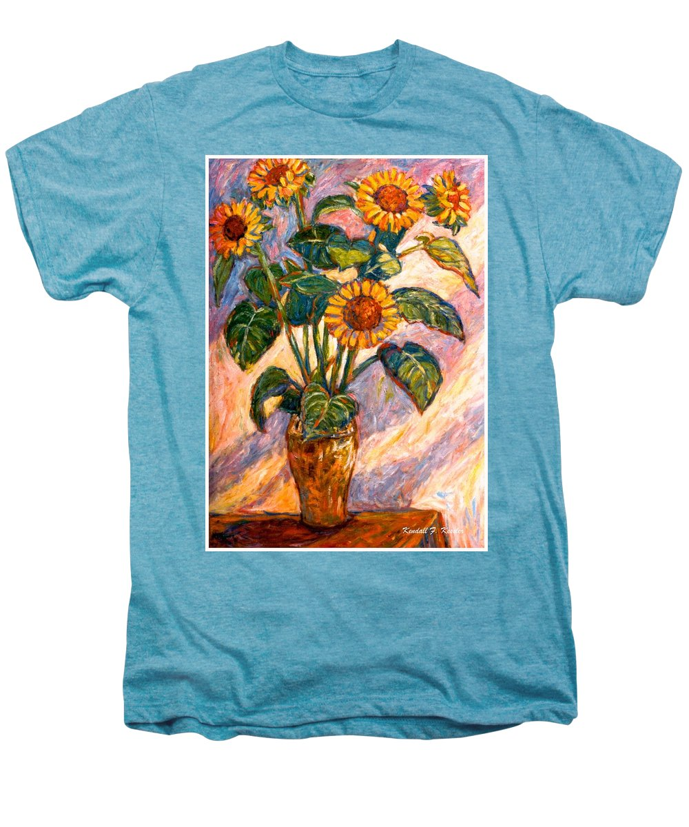 Floral Men's Premium T-Shirt featuring the painting Shadows On Sunflowers by Kendall Kessler