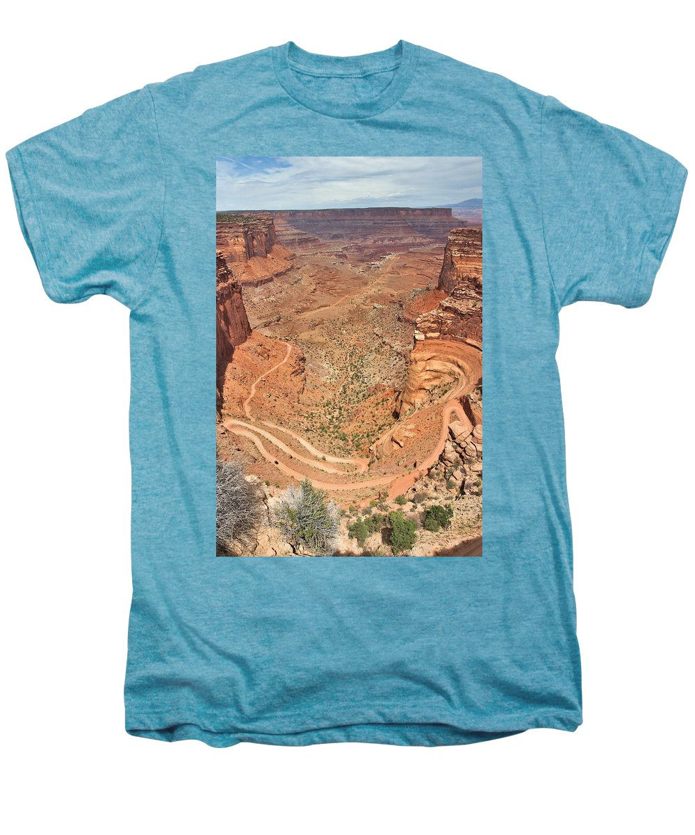 3scape Men's Premium T-Shirt featuring the photograph Shafer Trail by Adam Romanowicz