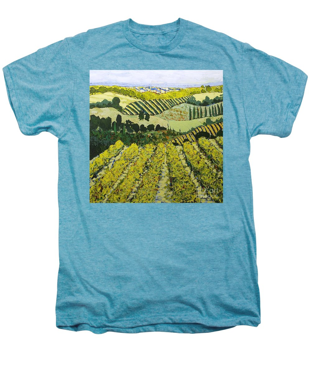 Landscape Men's Premium T-Shirt featuring the painting Sharing The Discovery by Allan P Friedlander