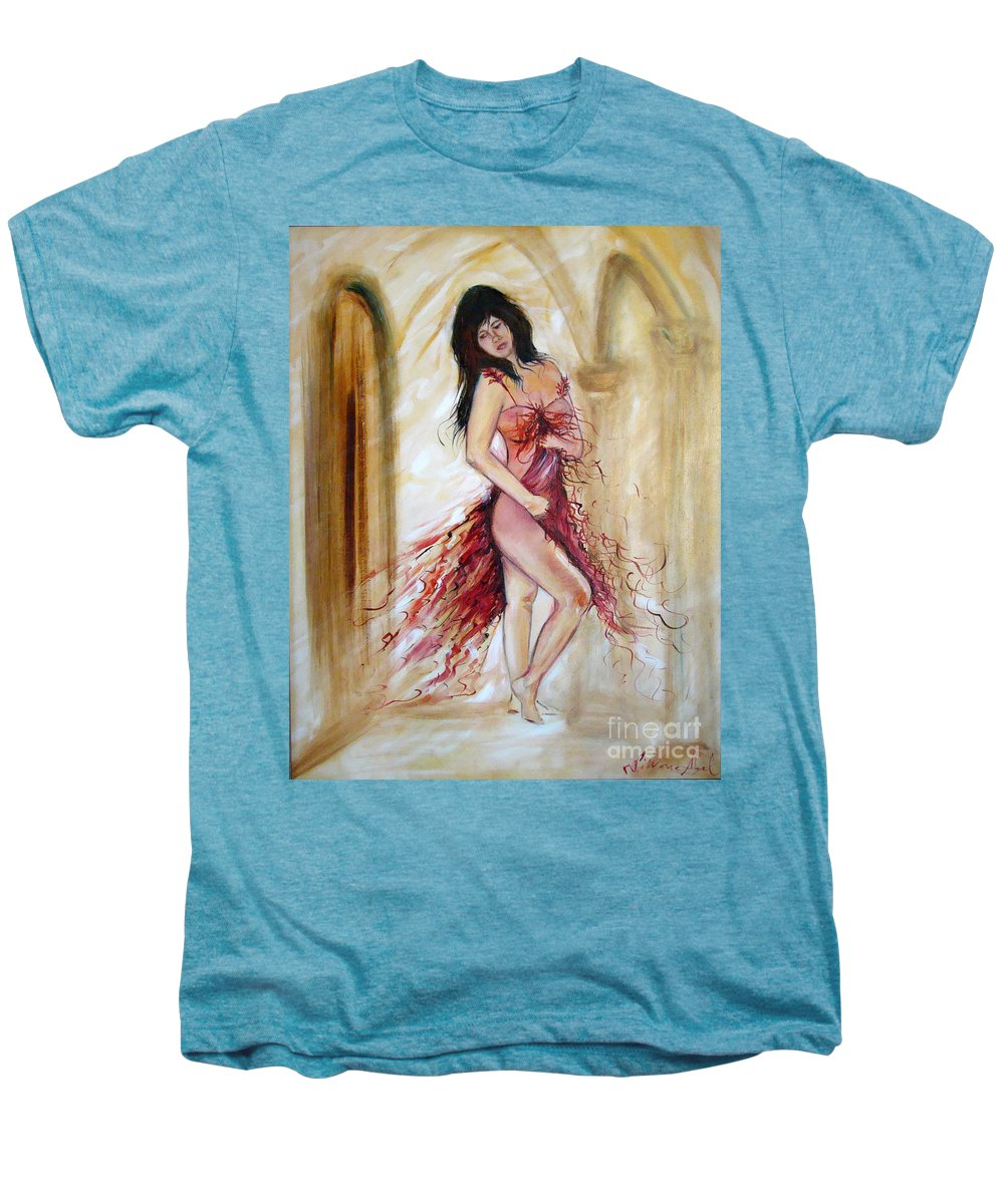 Contemporary Art Men's Premium T-Shirt featuring the painting She by Silvana Abel