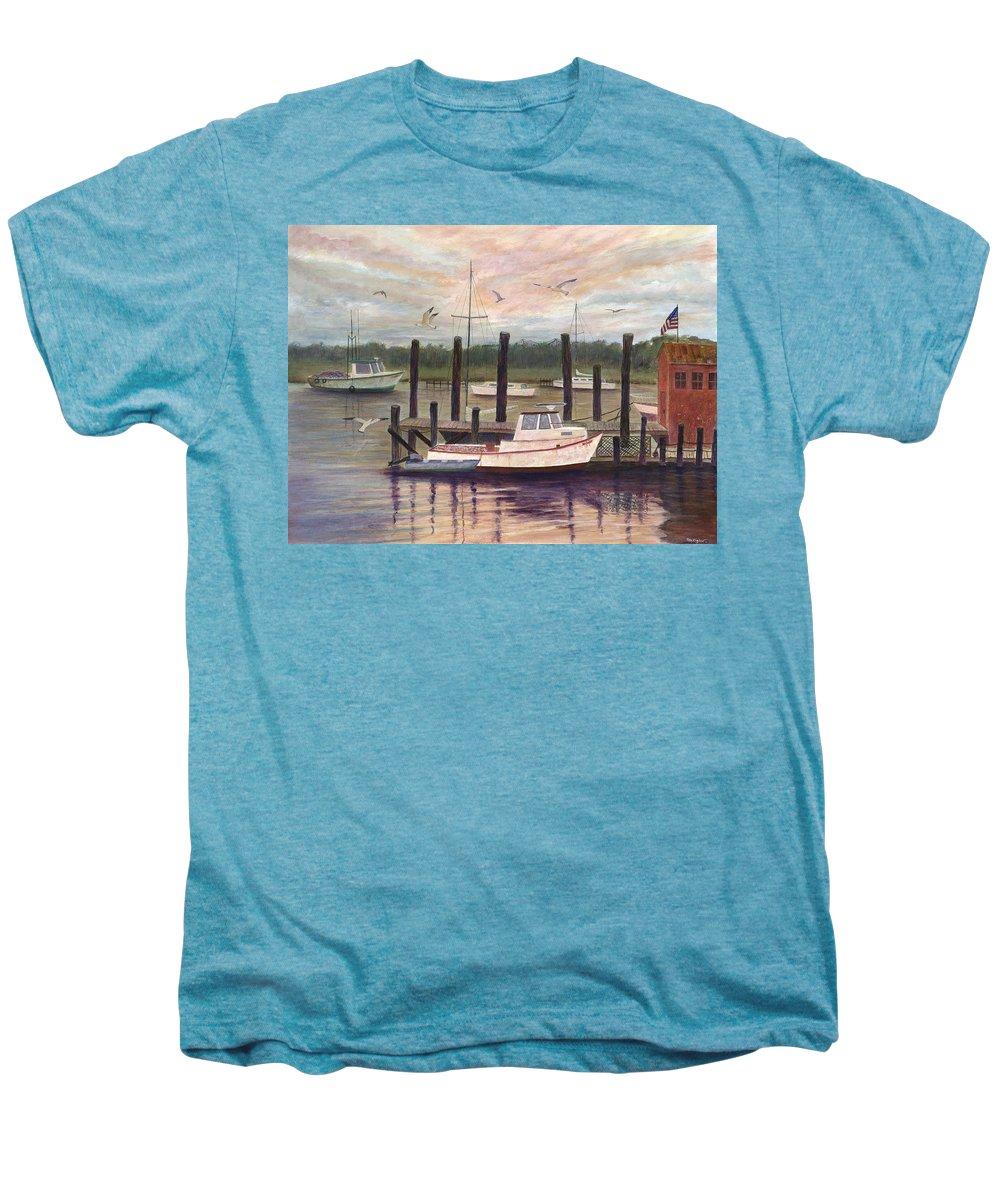 Charleston; Boats; Fishing Dock; Water Men's Premium T-Shirt featuring the painting Shem Creek by Ben Kiger