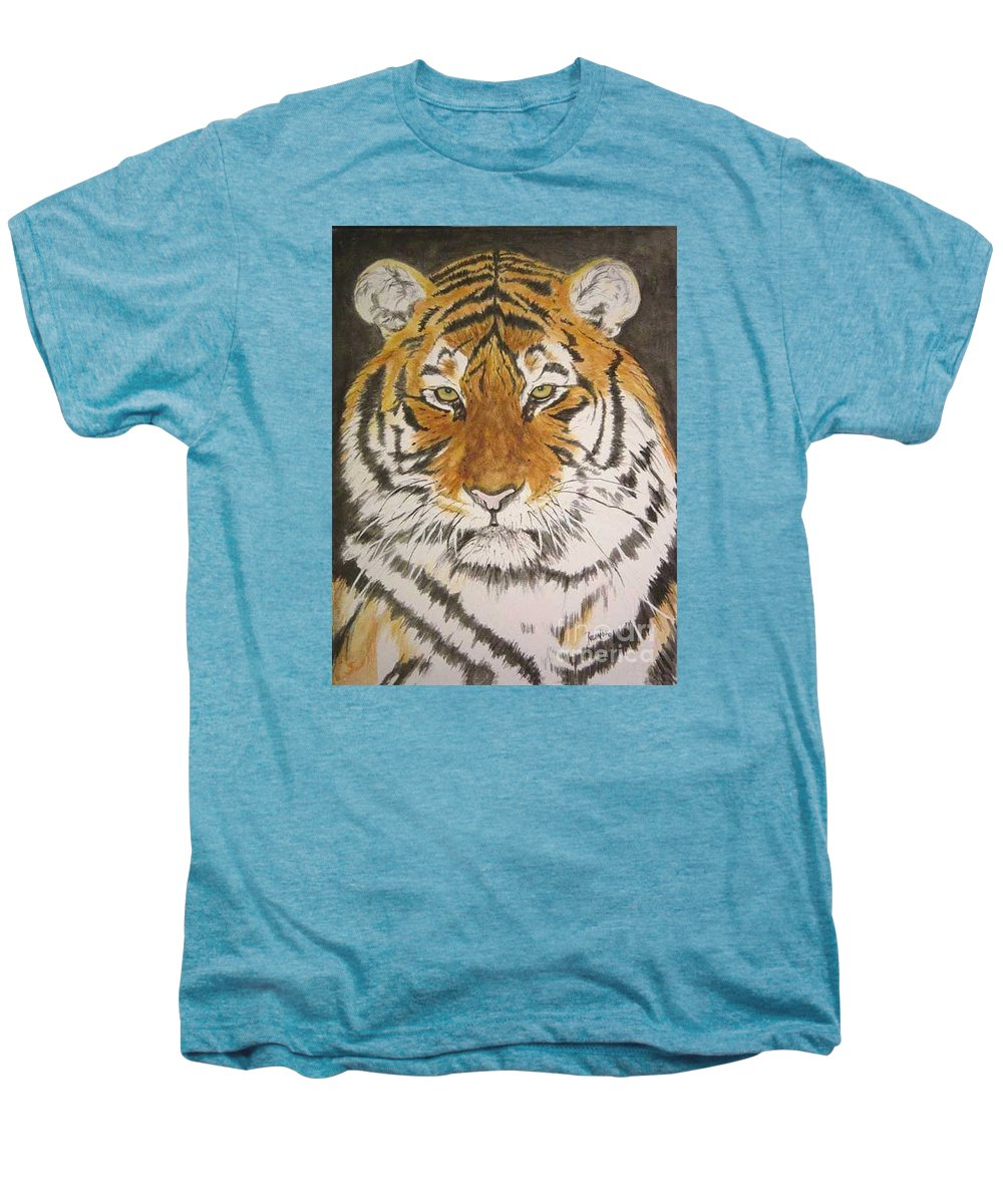 Siberian Tiger Men's Premium T-Shirt featuring the painting Siberian Tiger by Regan J Smith