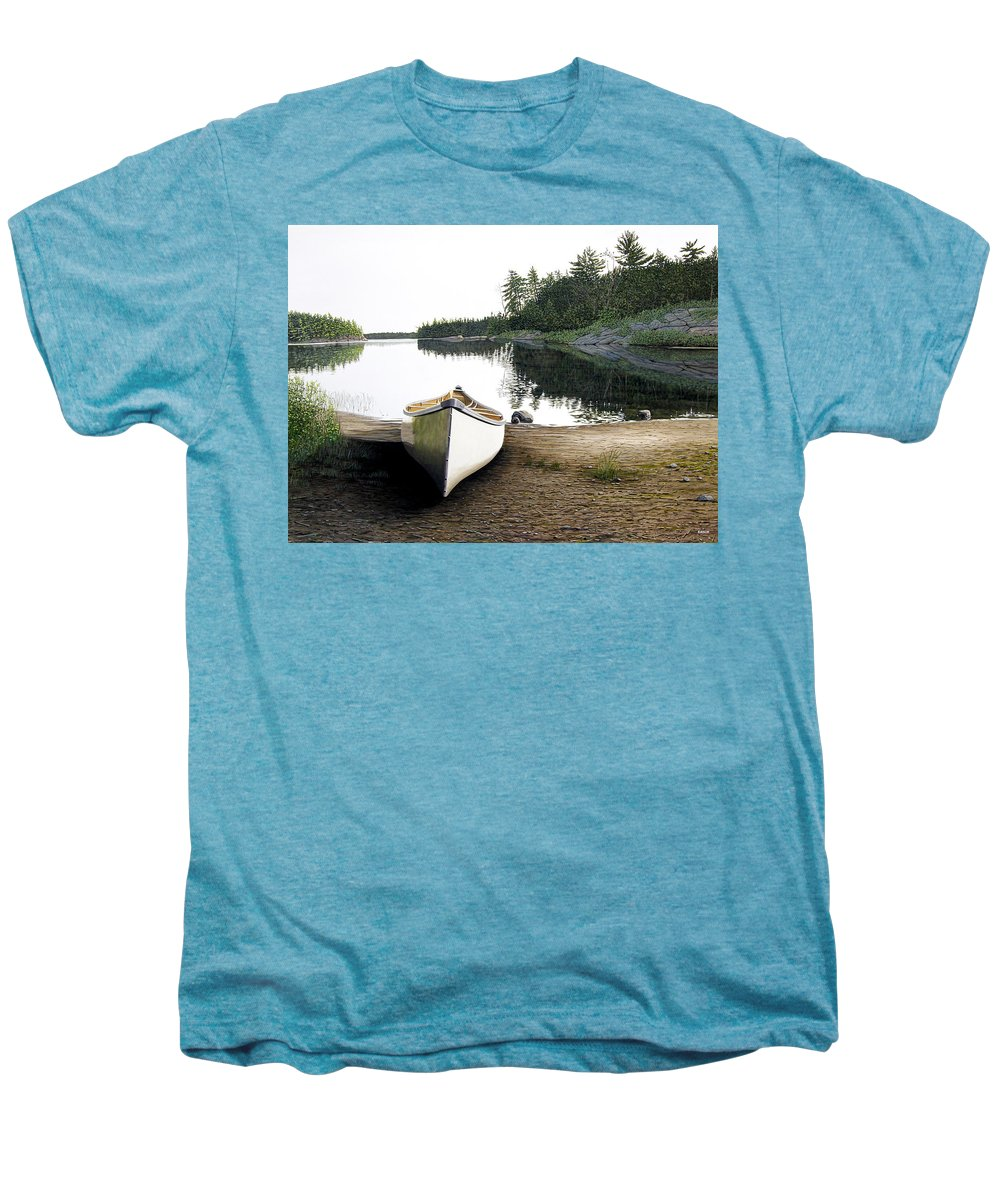 Landscapes Men's Premium T-Shirt featuring the painting Silent Retreat by Kenneth M Kirsch