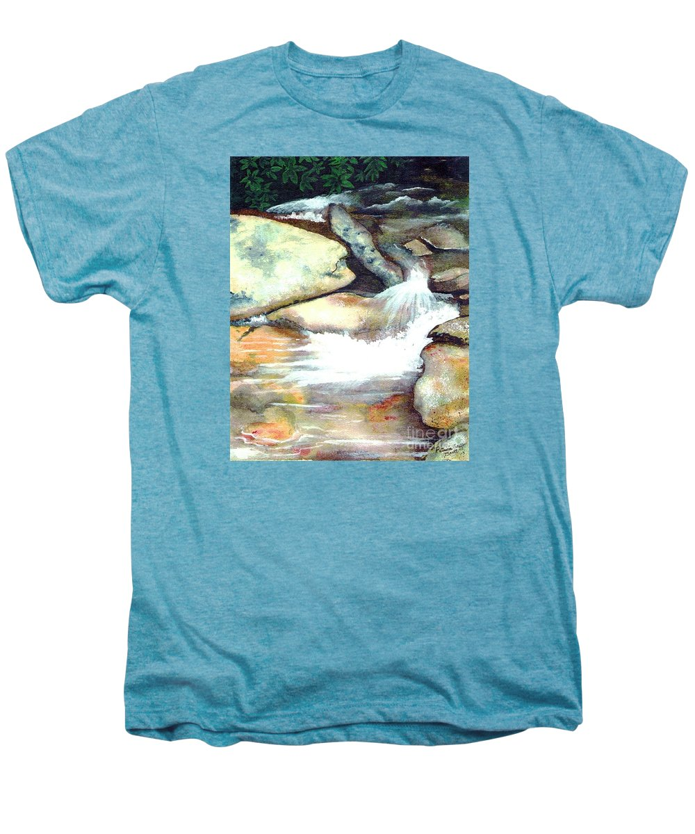 Fine Art Men's Premium T-Shirt featuring the painting Smoky Mountains Waterfall by Patricia Griffin Brett