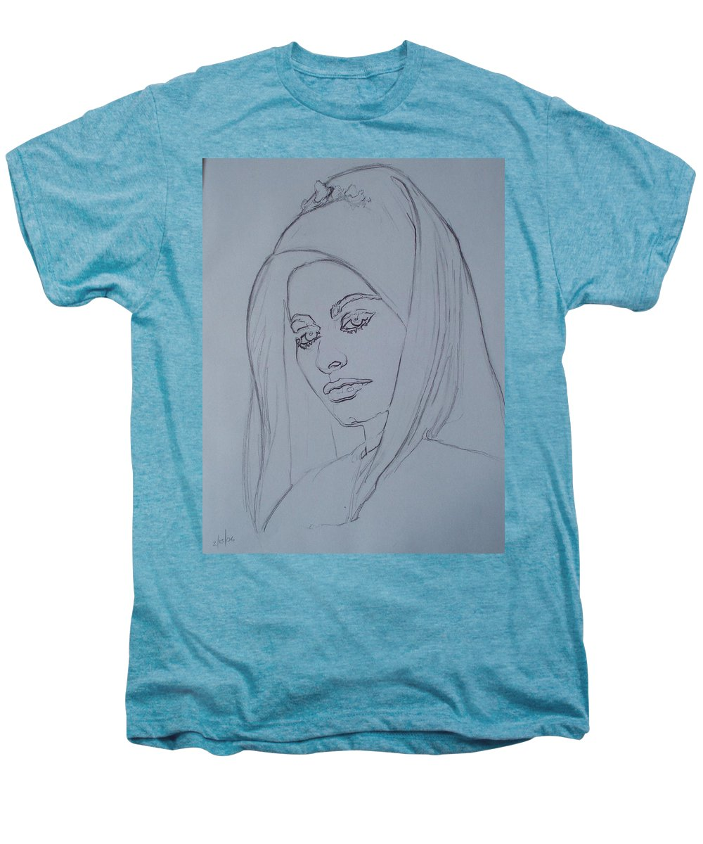 Woman Men's Premium T-Shirt featuring the drawing Sophia Loren In Headdress by Sean Connolly