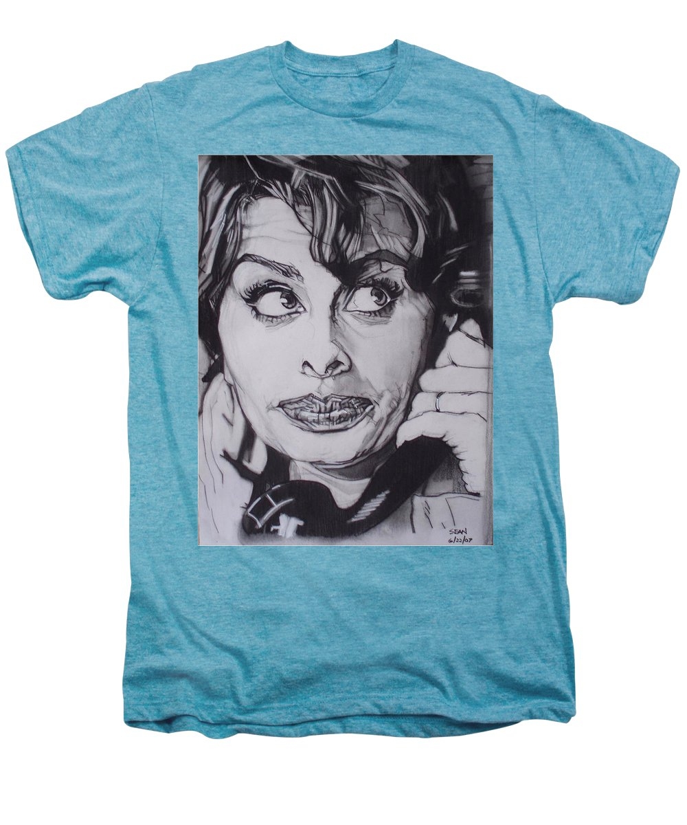 Charcoal;icon;actress;diva;italian;cat Eyes;beautiful;cute;adorable Men's Premium T-Shirt featuring the drawing Sophia Loren Telephones by Sean Connolly