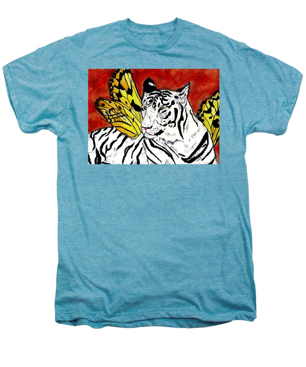 Tiger Men's Premium T-Shirt featuring the painting Soul Rhapsody by Crystal Hubbard
