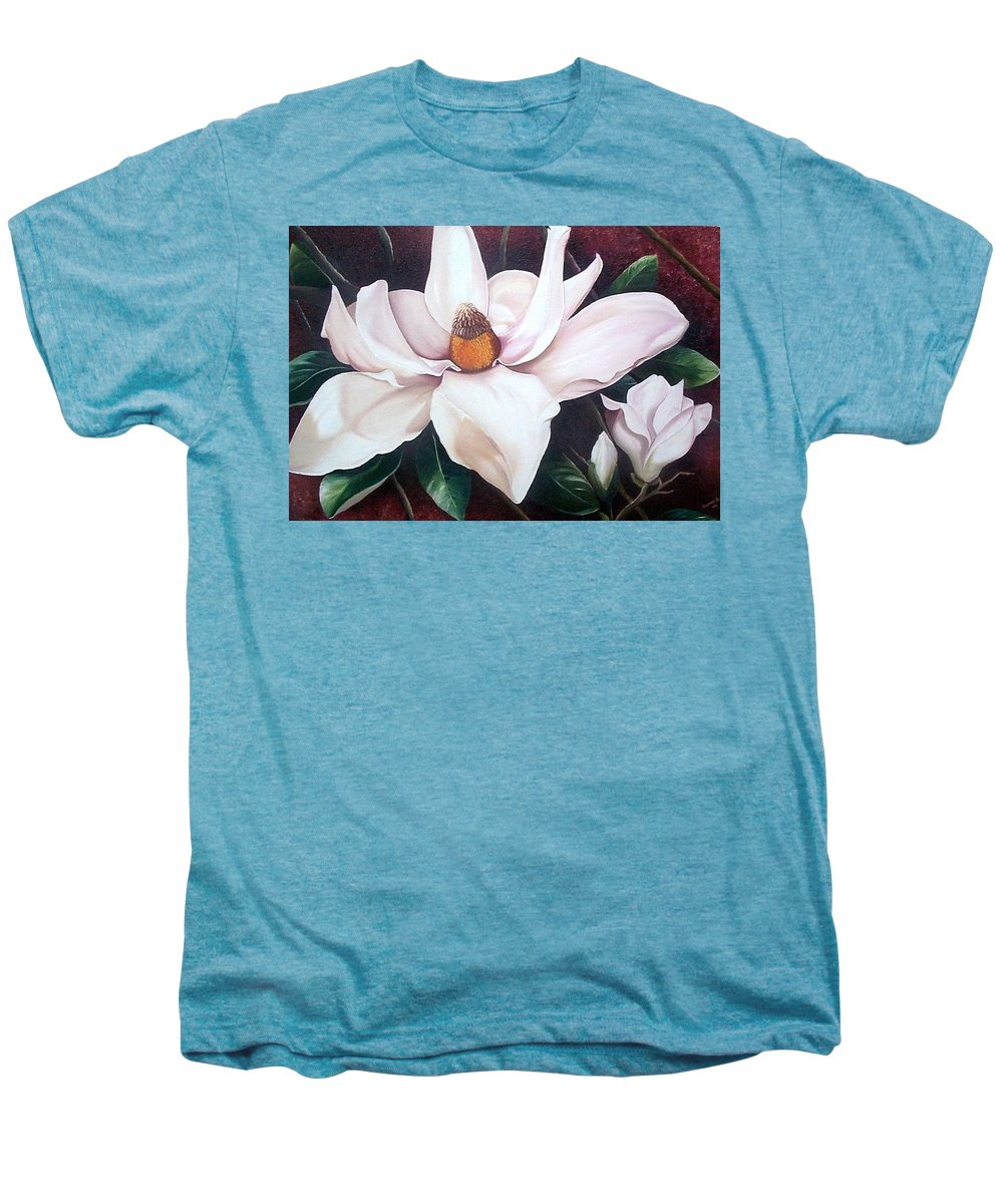 Magnolia Southern Bloom Floral Botanical White Men's Premium T-Shirt featuring the painting Southern Beauty by Karin Dawn Kelshall- Best