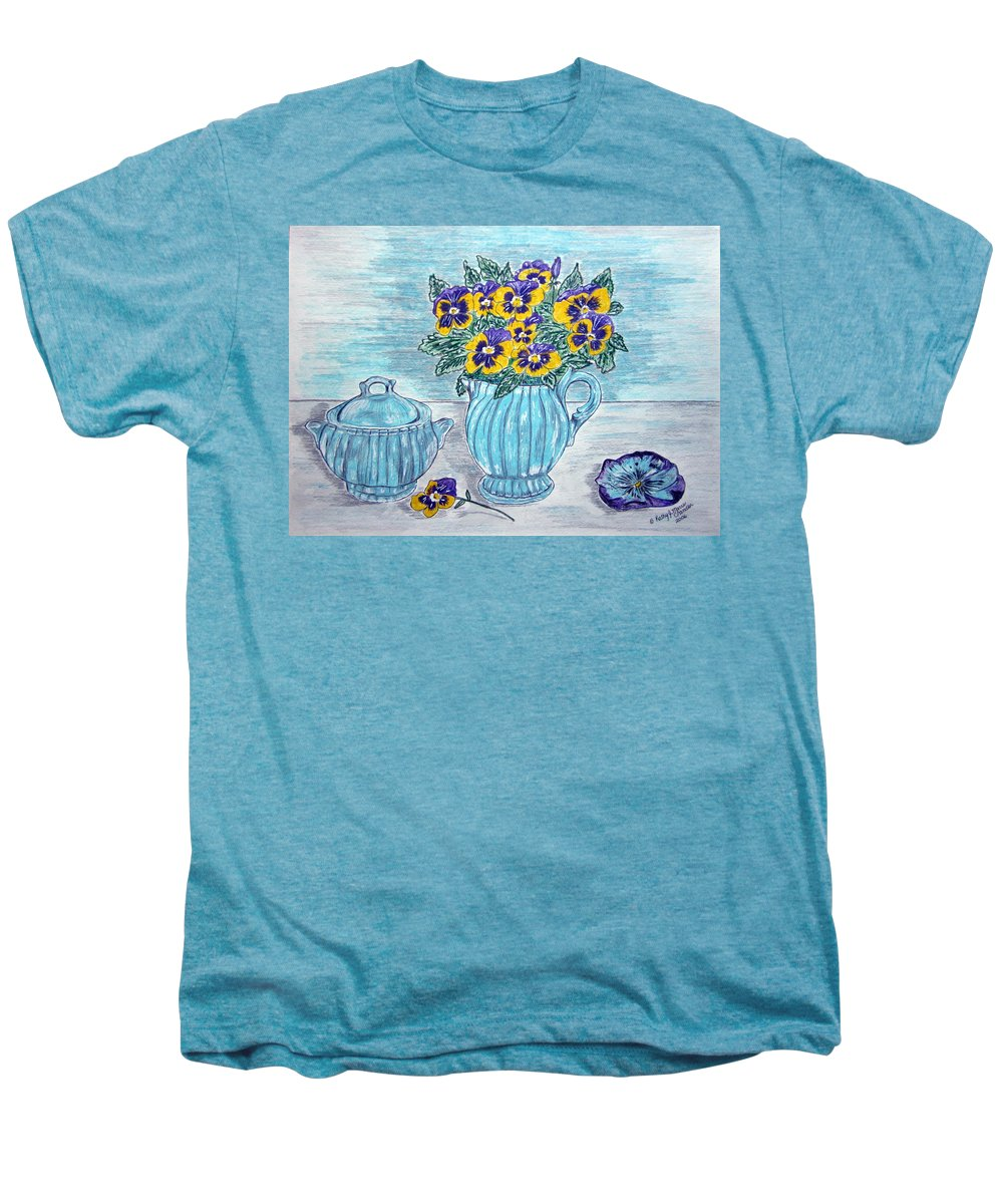 Stangl Pottery Men's Premium T-Shirt featuring the painting Stangl Pottery And Pansies by Kathy Marrs Chandler