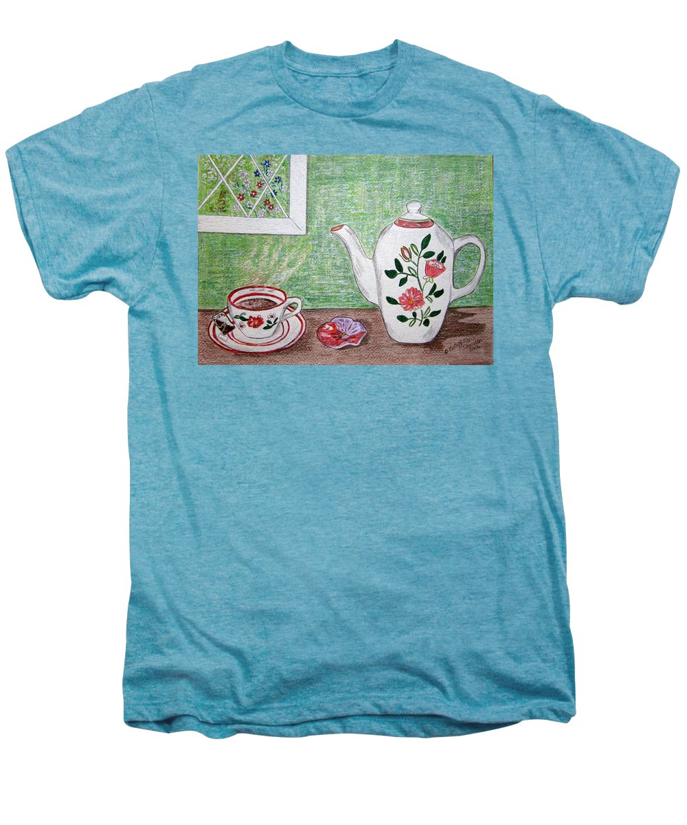 Stangl Pottery Men's Premium T-Shirt featuring the painting Stangl Pottery Rose Pattern by Kathy Marrs Chandler