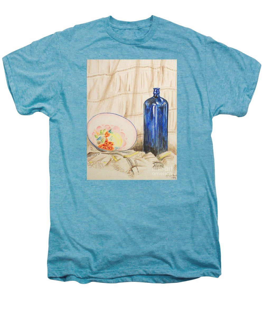 Still-life Men's Premium T-Shirt featuring the drawing Still-life With Blue Bottle by Alan Hogan