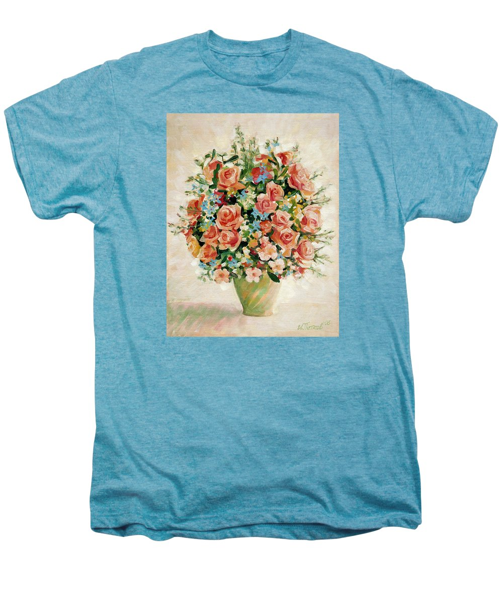 Flowers Men's Premium T-Shirt featuring the painting Still Life With Roses by Iliyan Bozhanov