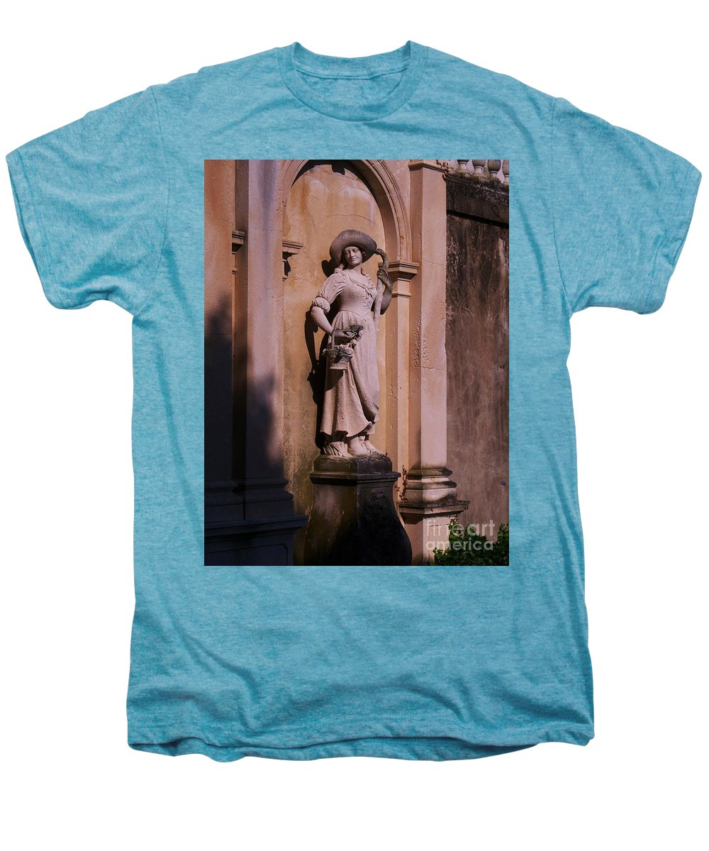 Garden Men's Premium T-Shirt featuring the photograph Stone Statue Woman by Eric Schiabor