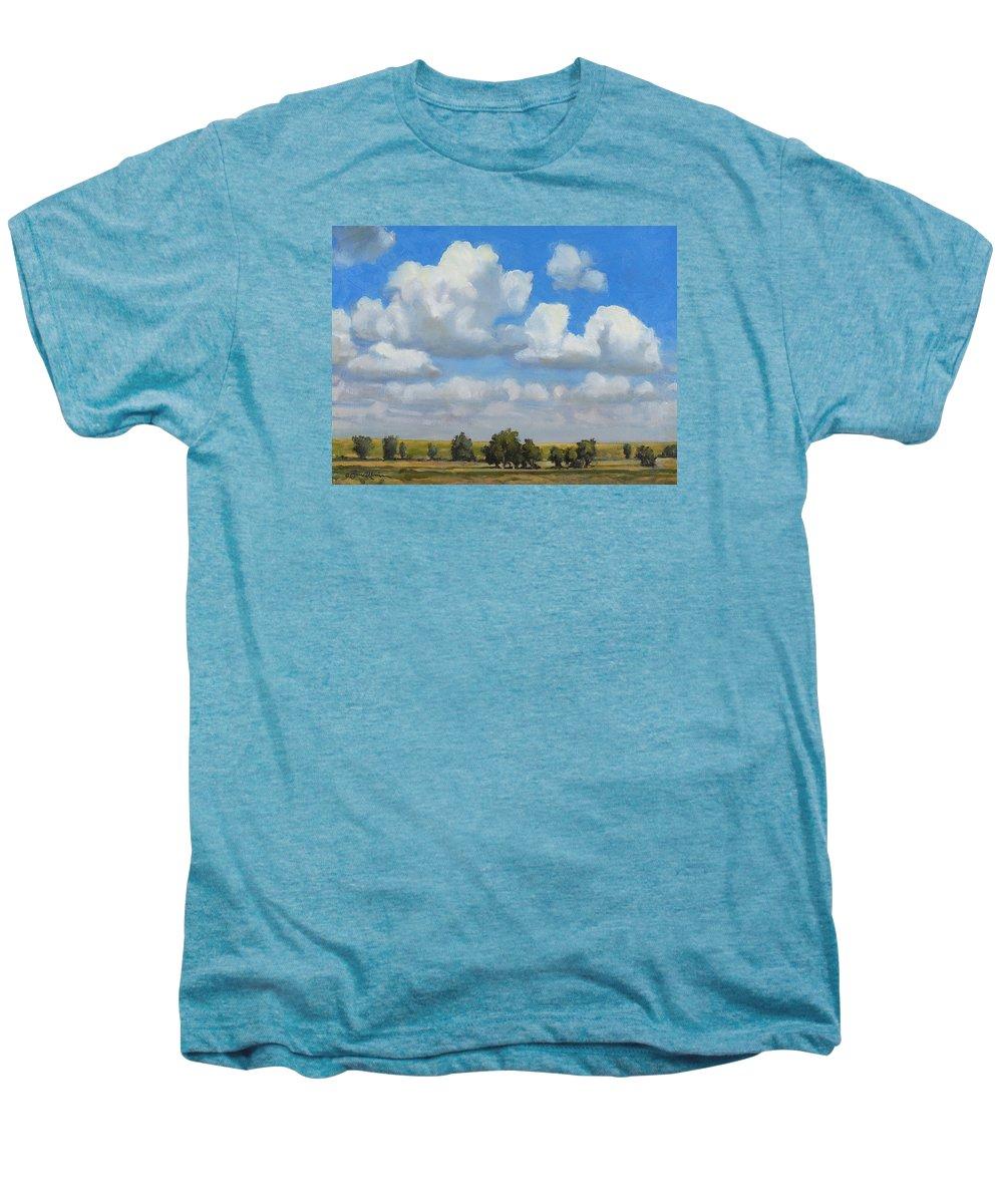 Landscape Men's Premium T-Shirt featuring the painting Summer Pasture by Bruce Morrison