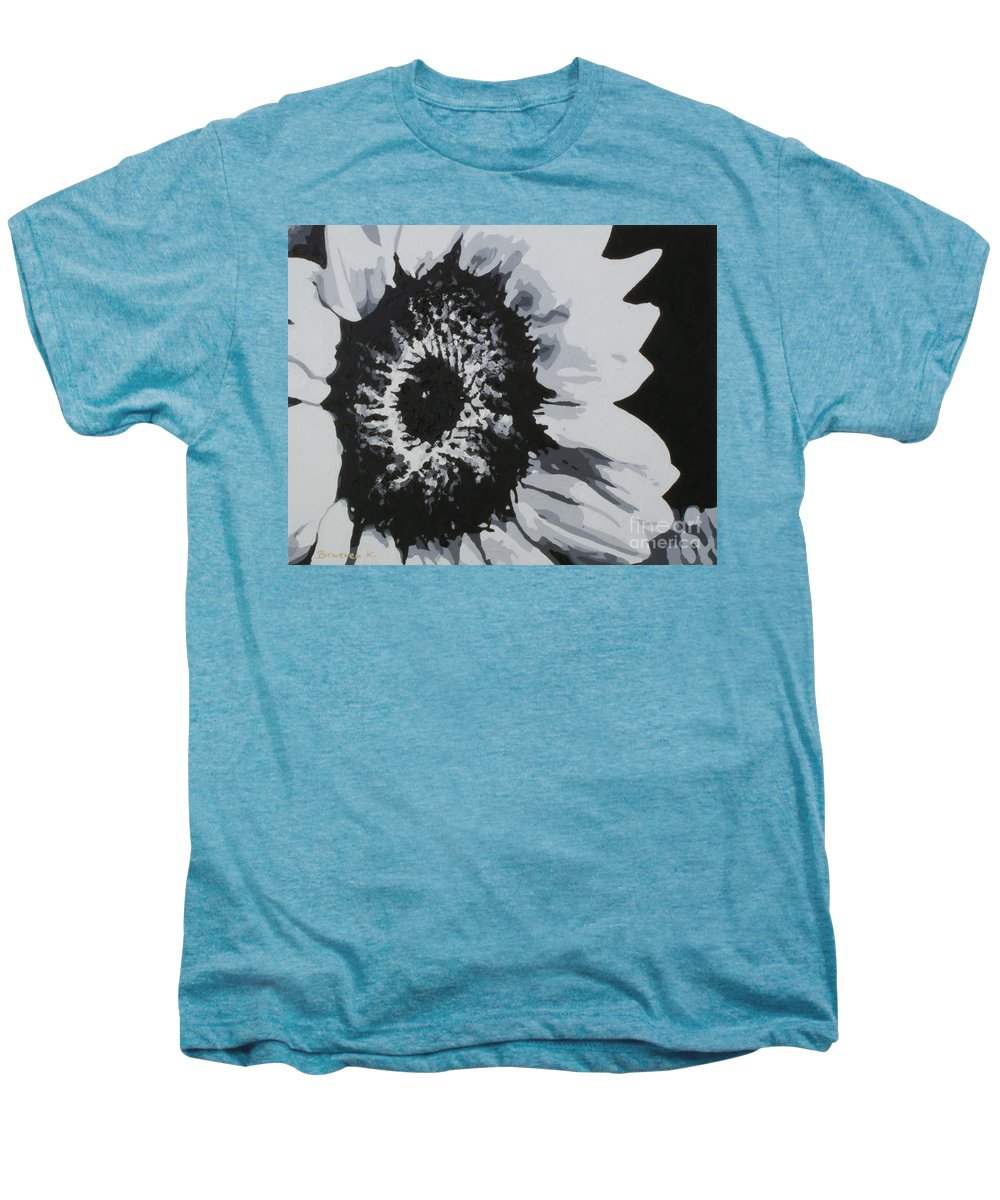 Sunflower Men's Premium T-Shirt featuring the painting Sunflower by Katharina Filus
