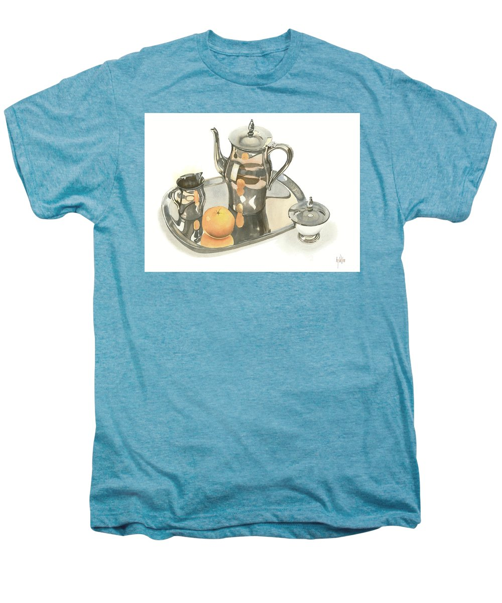 Tea Service With Orange Men's Premium T-Shirt featuring the painting Tea Service With Orange by Kip DeVore