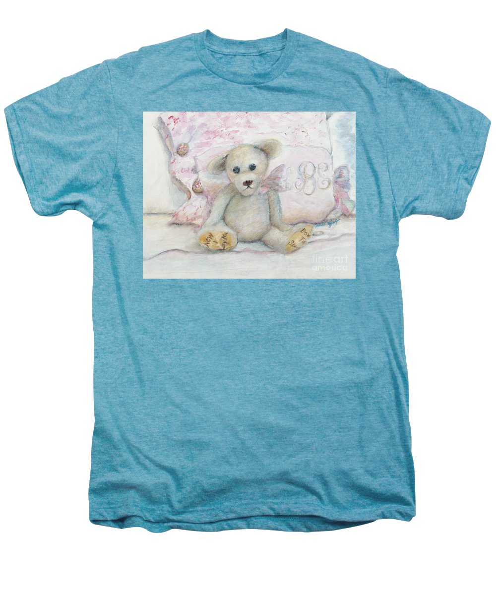 Teddy Bear Men's Premium T-Shirt featuring the painting Teddy Friend by Nadine Rippelmeyer