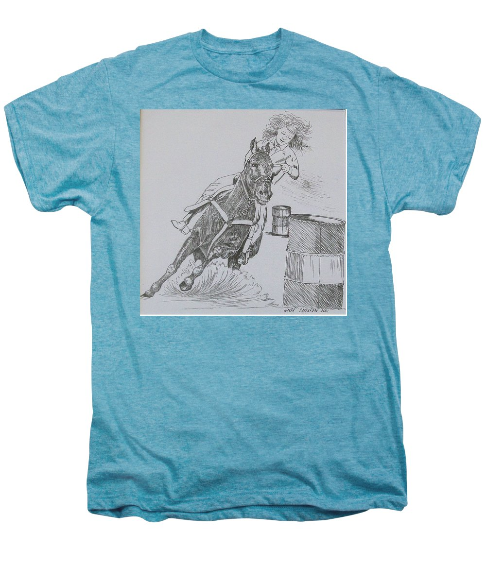 Black And Grey Black Poster Men's Premium T-Shirt featuring the drawing The Barrel Racer by Wanda Dansereau