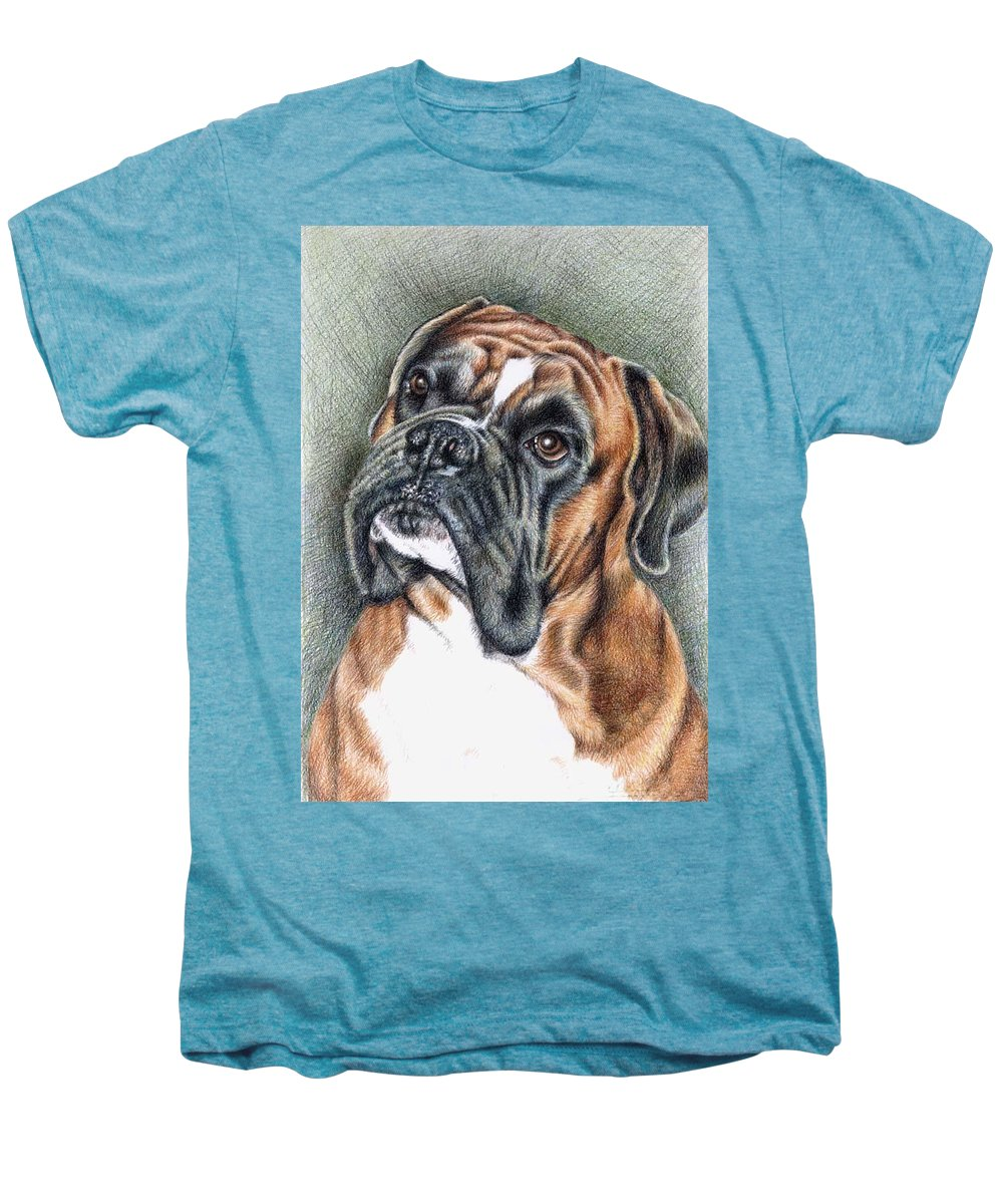 Dog Men's Premium T-Shirt featuring the drawing The Boxer by Nicole Zeug