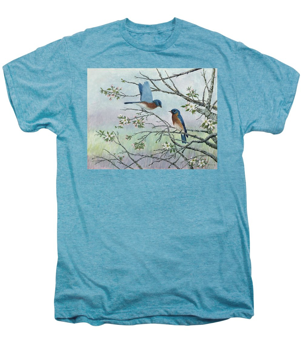 Bluebirds; Trees; Wildlife Men's Premium T-Shirt featuring the painting The Gift by Ben Kiger