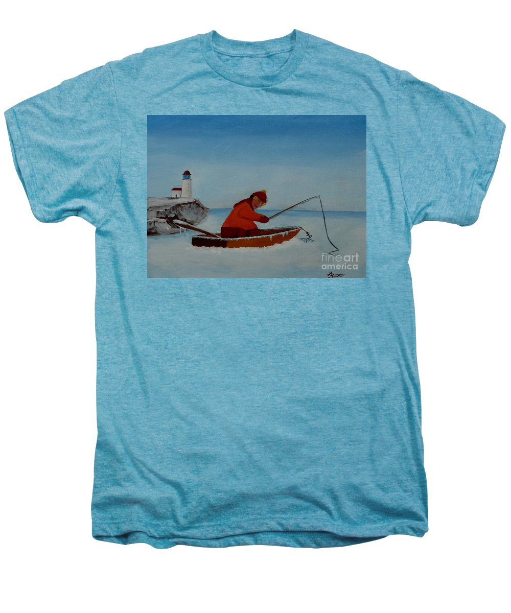 Stupid Men's Premium T-Shirt featuring the painting The Ice Fisherman by Anthony Dunphy