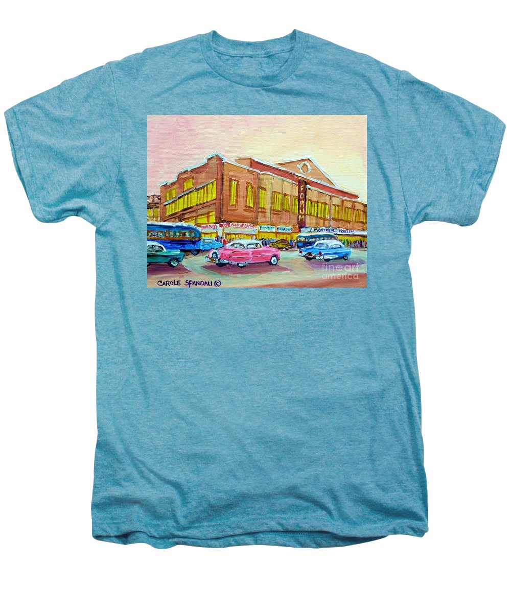 Montreal Men's Premium T-Shirt featuring the painting The Montreal Forum by Carole Spandau