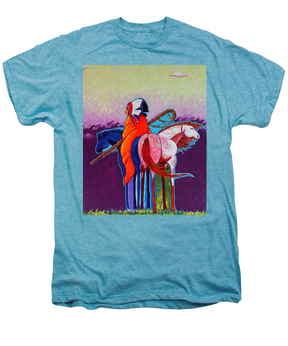 Native American Men's Premium T-Shirt featuring the painting The Peacemakers Gift by Joe Triano