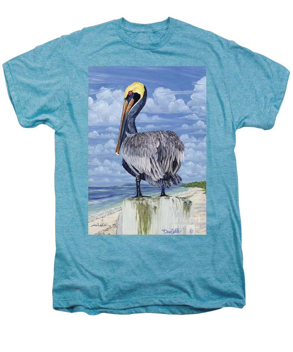 Seascape Men's Premium T-Shirt featuring the painting The Pelican Perch by Danielle Perry
